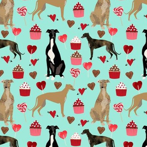 greyhounds valentines fabric - aqua - valentines love design, cute valentines love fabric
