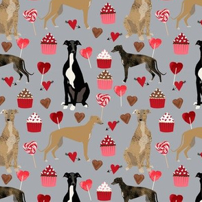 greyhounds valentines fabric - grey - valentines love design, cute valentines love fabric