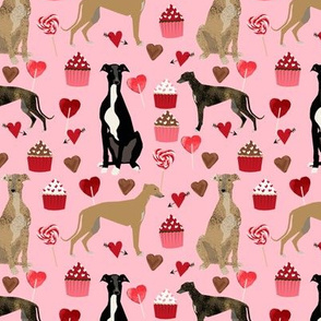 greyhounds valentines fabric - blossom pink - valentines love design, cute valentines love fabric