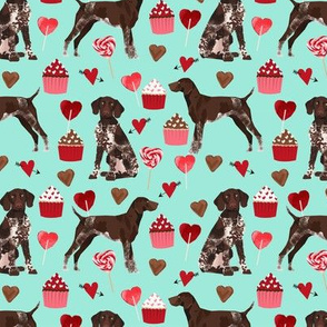 german shorthaired pointer valentines fabric - aqua - valentines love design, cute valentines love fabric