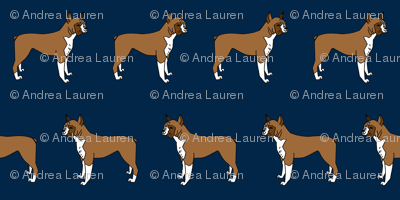 boxer // boxers dog fabric navy blue dog design andrea lauren pet fabric