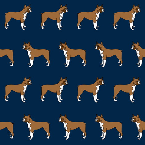 boxer // boxers dog fabric navy blue dog design andrea lauren pet fabric fabric by andrea_lauren on Spoonflower - custom fabric