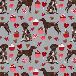 german shorthaired pointer valentines fabric - grey - valentines love design, cute valentines love fabric