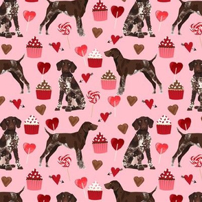 german shorthaired pointer valentines fabric - blossom pink - valentines love design, cute valentines love fabric