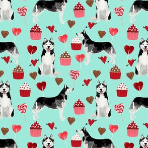 husky  valentines fabric - aqua - valentines love design, cute valentines love fabric