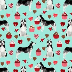 husky  valentines fabric - aqua - valentines love design, cute valentines love fabric