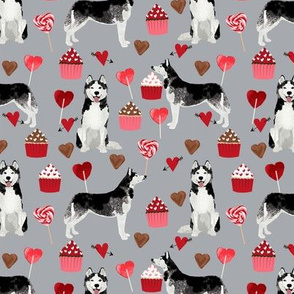 husky  valentines fabric - grey - valentines love design, cute valentines love fabric