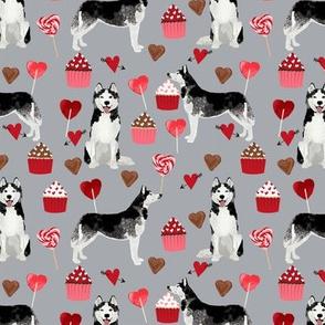 husky  valentines fabric - grey - valentines love design, cute valentines love fabric