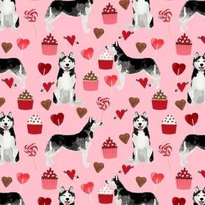 husky  valentines fabric - blossom pink - valentines love design, cute valentines love fabric