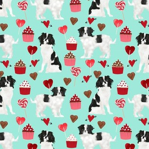 japanese chin  valentines fabric - aqua - valentines love design, cute valentines love fabric