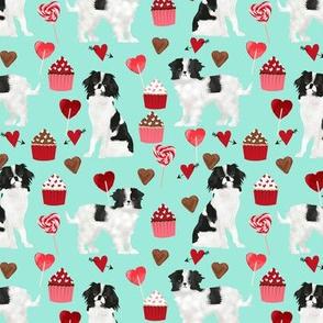 japanese chin  valentines fabric - aqua - valentines love design, cute valentines love fabric
