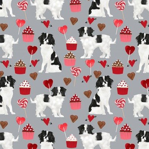 japanese chin  valentines fabric - grey - valentines love design, cute valentines love fabric