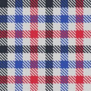 Tricolor Gingham Black Blue Red