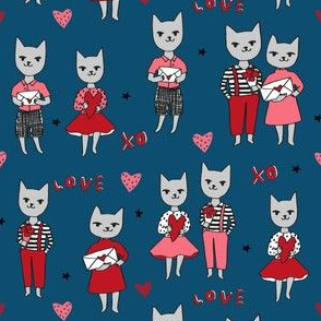 cat love // cute cats in love love letters valentines love fabric cute cats kitty