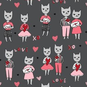 cat love // charcoal grey cats love fabric best cats in love kitty cat love letters fabric