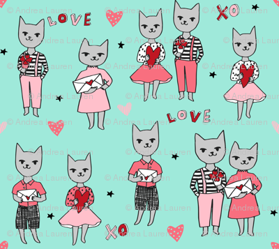 cat love // mint cats fabric valentines love fabric cute hearts love design