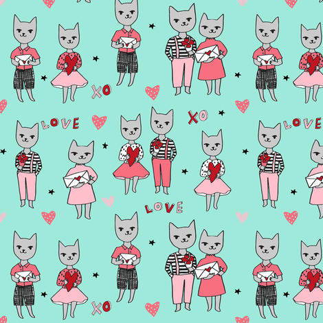 cat love // mint cats fabric valentines love fabric cute hearts love design fabric by andrea_lauren on Spoonflower - custom fabric