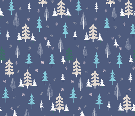 christmas_town_trees fabric by pixabo on Spoonflower - custom fabric