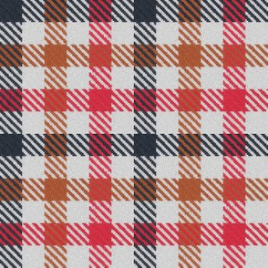 Tricolor Gingham Charcoal Cocoa and Ruby