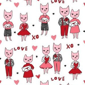 cat love // pink love cats kitty cat valentines fabric cute valentines love fabric