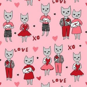 cat love // cute love letter hearts love design fabric valentines fabric best love design
