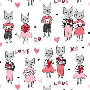cat love // cats love valentines fabric cat design cat love letters fabric