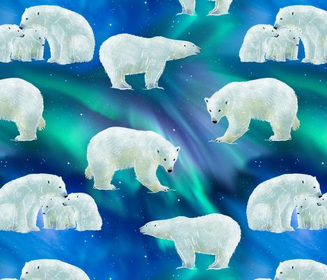 bear-borealis fabric by gaiamarfurt on Spoonflower - custom fabric