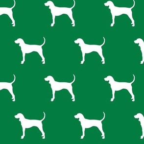coonhound on green || dog fabric