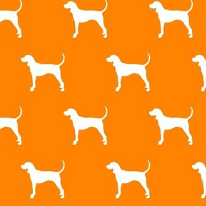 coonhound on custom orange || dog fabric