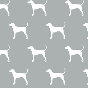 coonhound on grey || dog fabric
