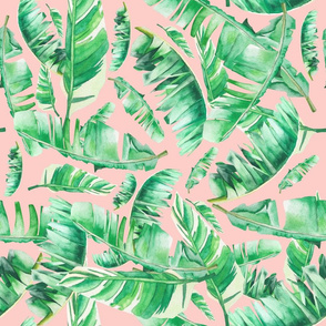 Floral Tropical Leaves / Medium Peach  Hue