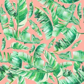 Floral Tropical Leaves / Dark Peach Hue
