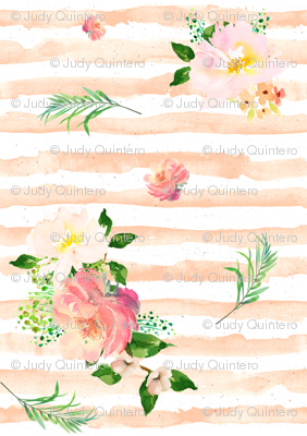 Floral Flamingo Stripes /  Peach / Free Falling