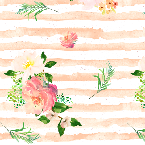 Floral Flamingo Stripes /  Peach / Free Falling fabric by shopcabin on Spoonflower - custom fabric