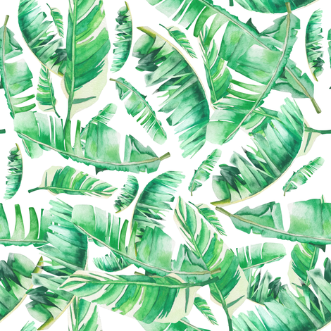 Floral Tropical Leaves / White Background fabric by shopcabin on Spoonflower - custom fabric