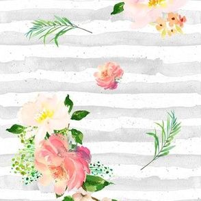 Floral Flamingo Stripes /  GREY / Free Falling