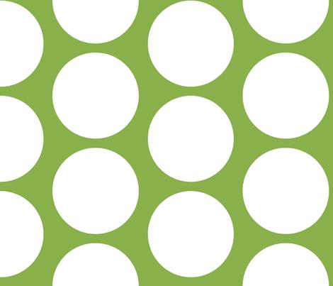 GIGANTIC White Polka Dots on Greenery by Su_G fabric by su_g on Spoonflower - custom fabric