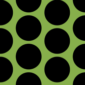 GIGANTIC Black Polka Dots on Greenery by Su_G