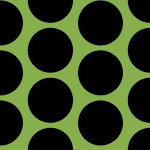 GIGANTIC Black Polka Dots on Greenery by Su_G