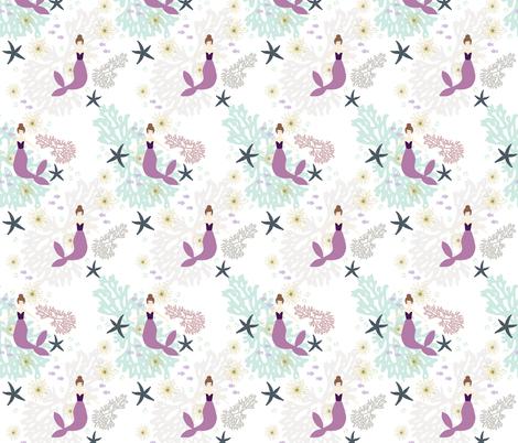 Laguna Mermaids // Brunette fabric by ivieclothco on Spoonflower - custom fabric