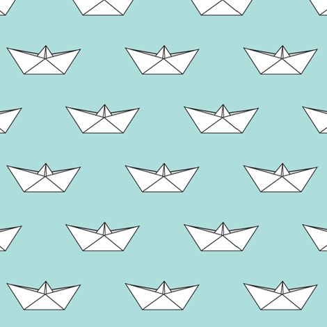 paper boat || baby blue fabric by littlearrowdesign on Spoonflower - custom fabric