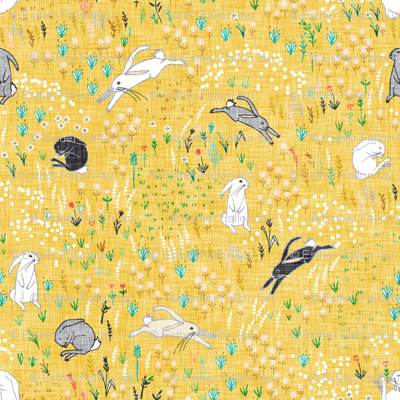 Ambrosia Bunny Field (butter Yellow Linen)