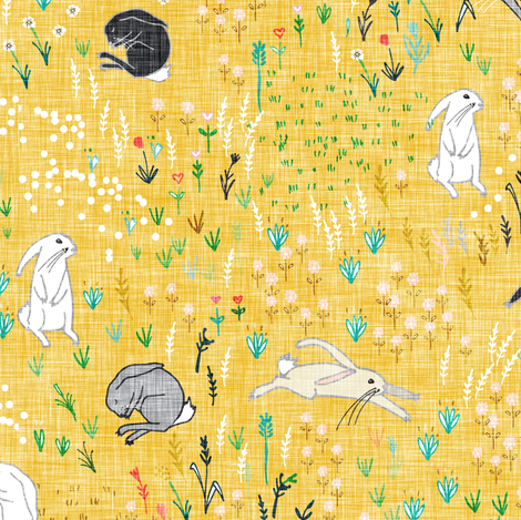 Ambrosia Bunny Field (butter Yellow Linen) fabric by nouveau_bohemian on Spoonflower - custom fabric