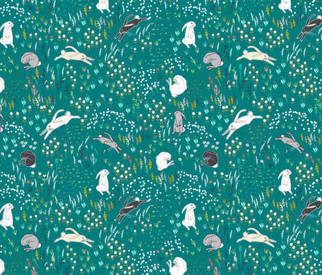 Ambrosia Bunny Field  (teal) fabric by nouveau_bohemian on Spoonflower - custom fabric