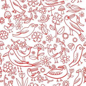 lovely birds among flowers