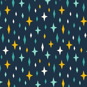 Unicorn stars sky turquoise dark