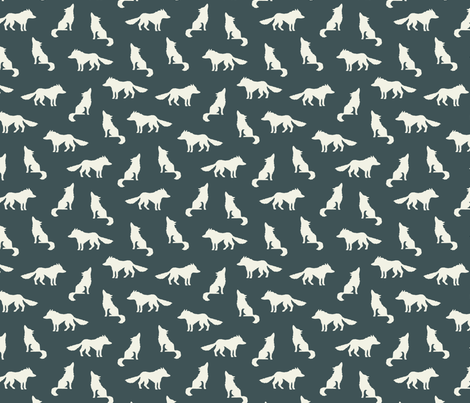 Wolf on navy gray fabric by heleen_vd_thillart on Spoonflower - custom fabric