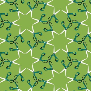 small scissor stars - spruce on fresh green