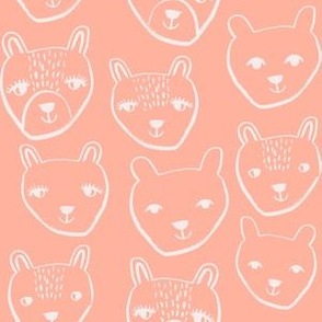 nursery animal baby fabric peach cute bears