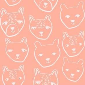 nursery animal baby fabric peach cute bears